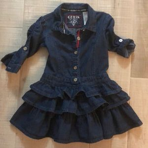 Guess Ruffles Denim Dress Girls Sz 5